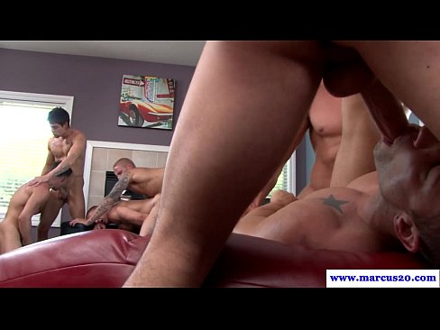 Beefy Straight Guy Enjoying Gay Orgy
